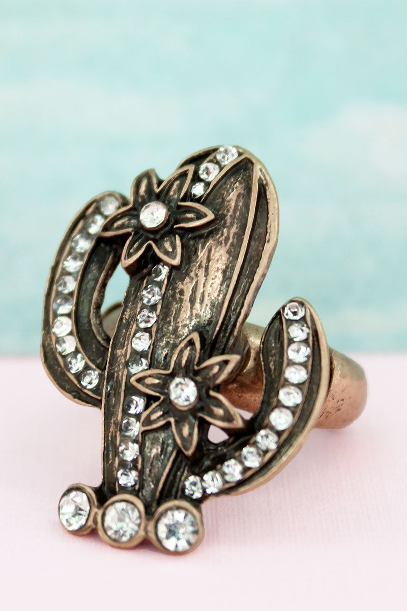 Burnished Goldtone and Crystal Flowering Cactus Ring