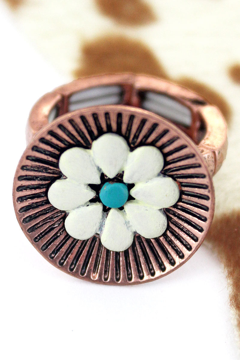 White Flower Coppertone Ring