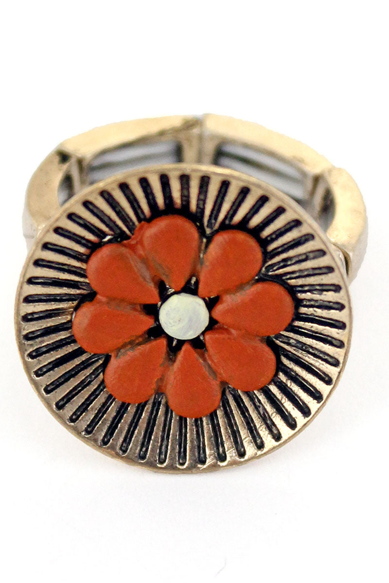 Orange Flower Goldtone Ring