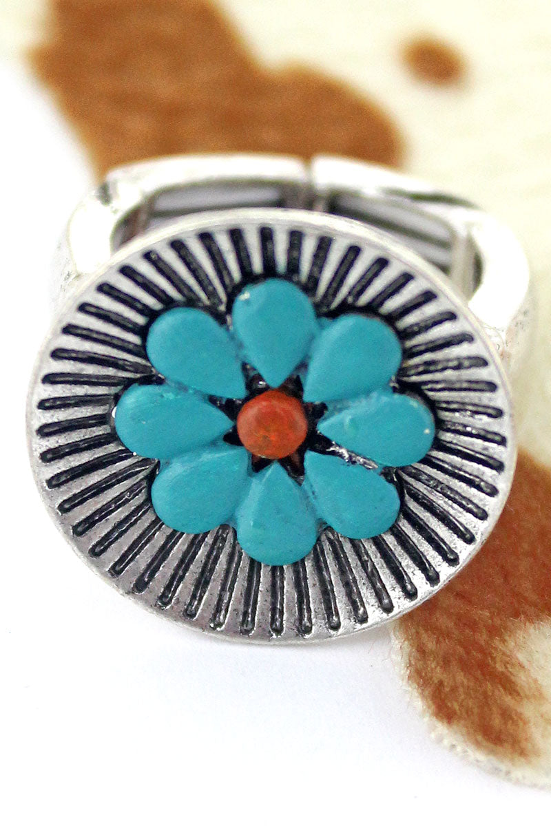 Turquoise Flower Silvertone Ring