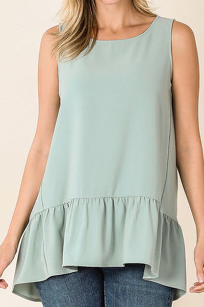 Light Green Ruffle Trim Dobby Sleeveless Top