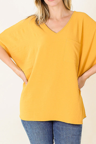 Ash Mustard Crinkled V-Neck Dolman Pocket Top