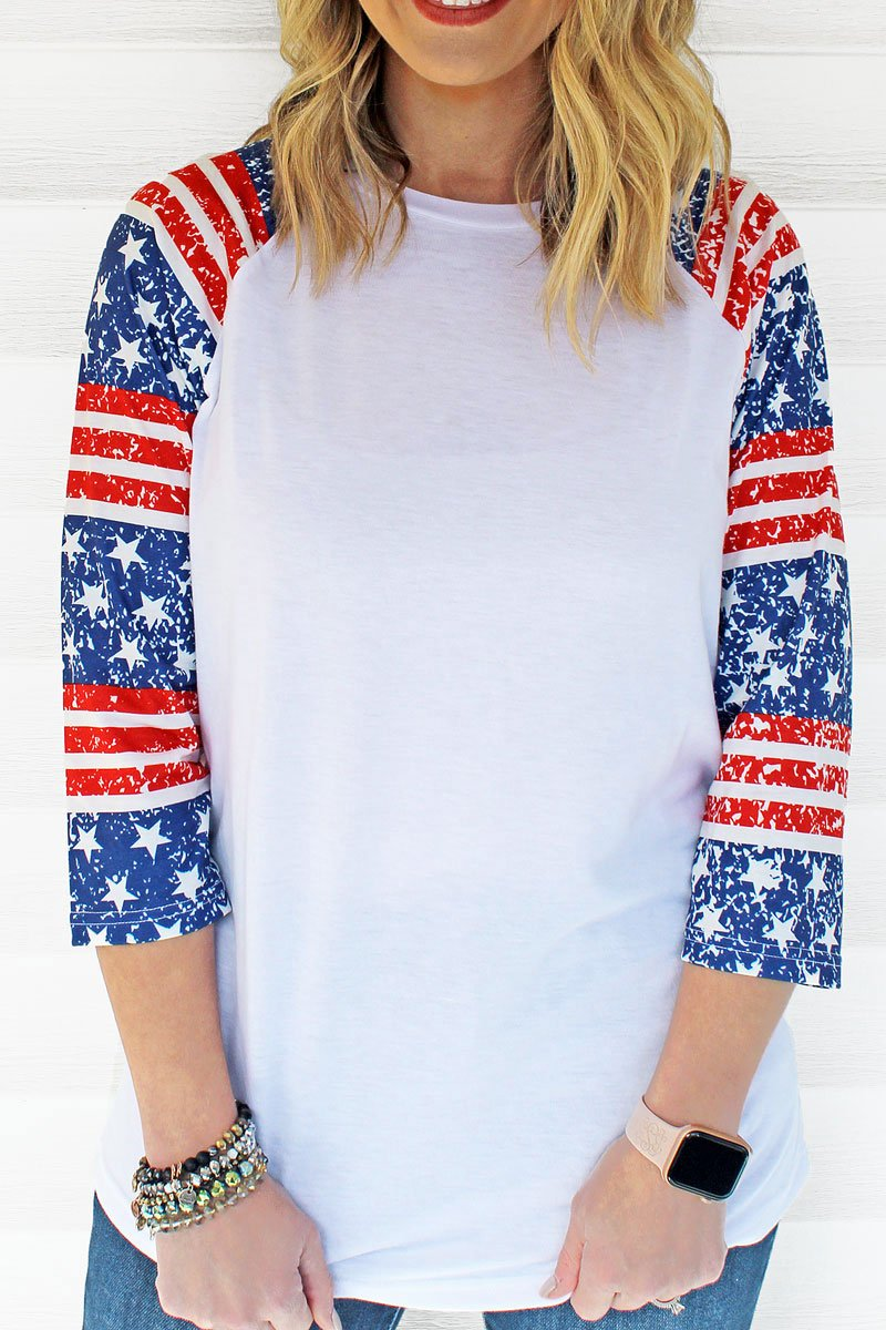 PRE-ORDER* Patriotic Party 3/4 Sleeve Raglan Tee **EXPECTED SHIP DATE 4/12**