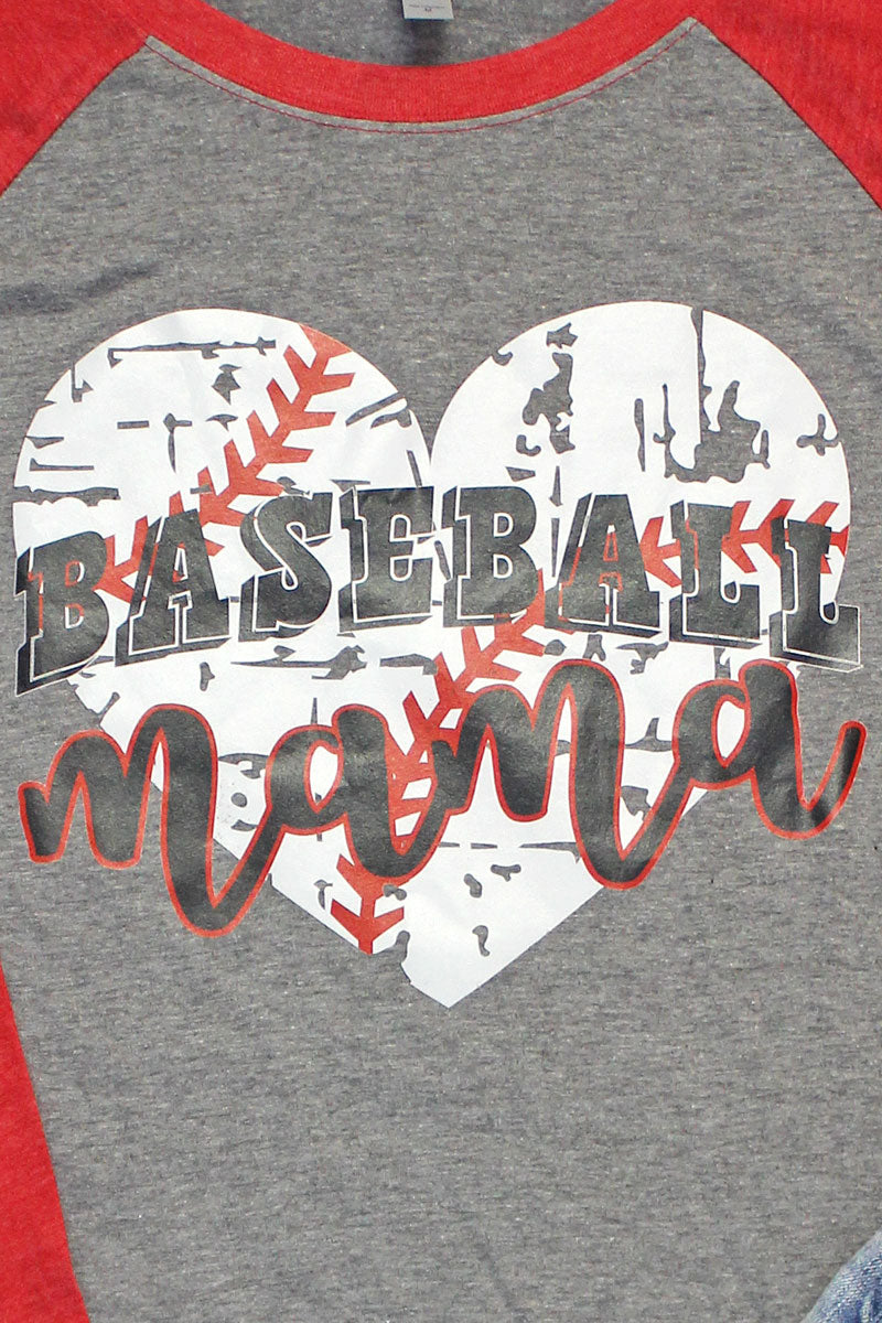 Distressed Heart Baseball Mama Tri-Blend Unisex 3/4 Raglan