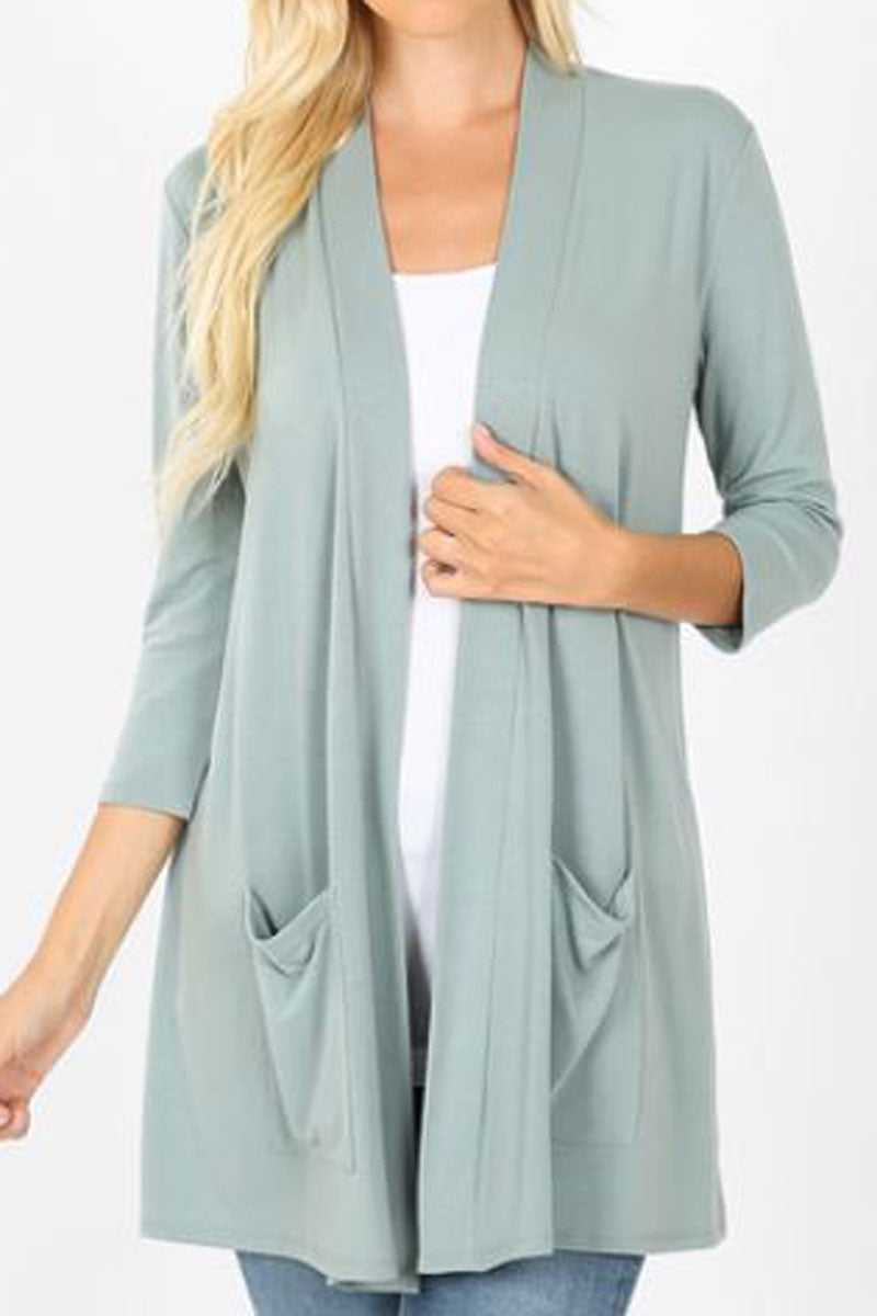 Light Green Slouchy Open Cardigan with Pockets