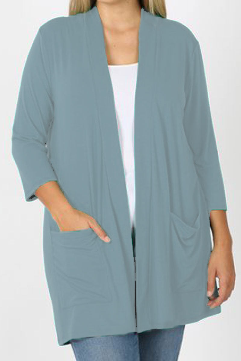Plus Size Blue Gray Slouchy Open Cardigan with Pockets