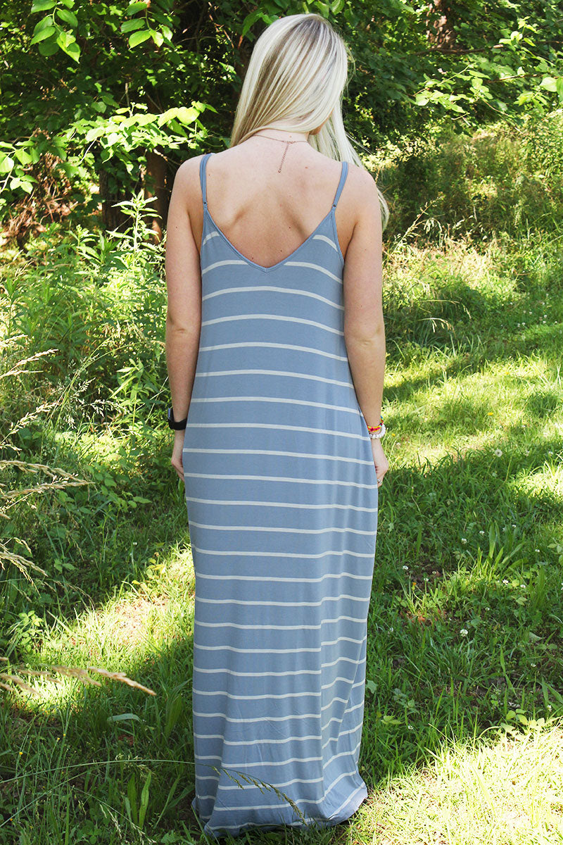 Ash Blue Striped V-Neck Cami Maxi Dress