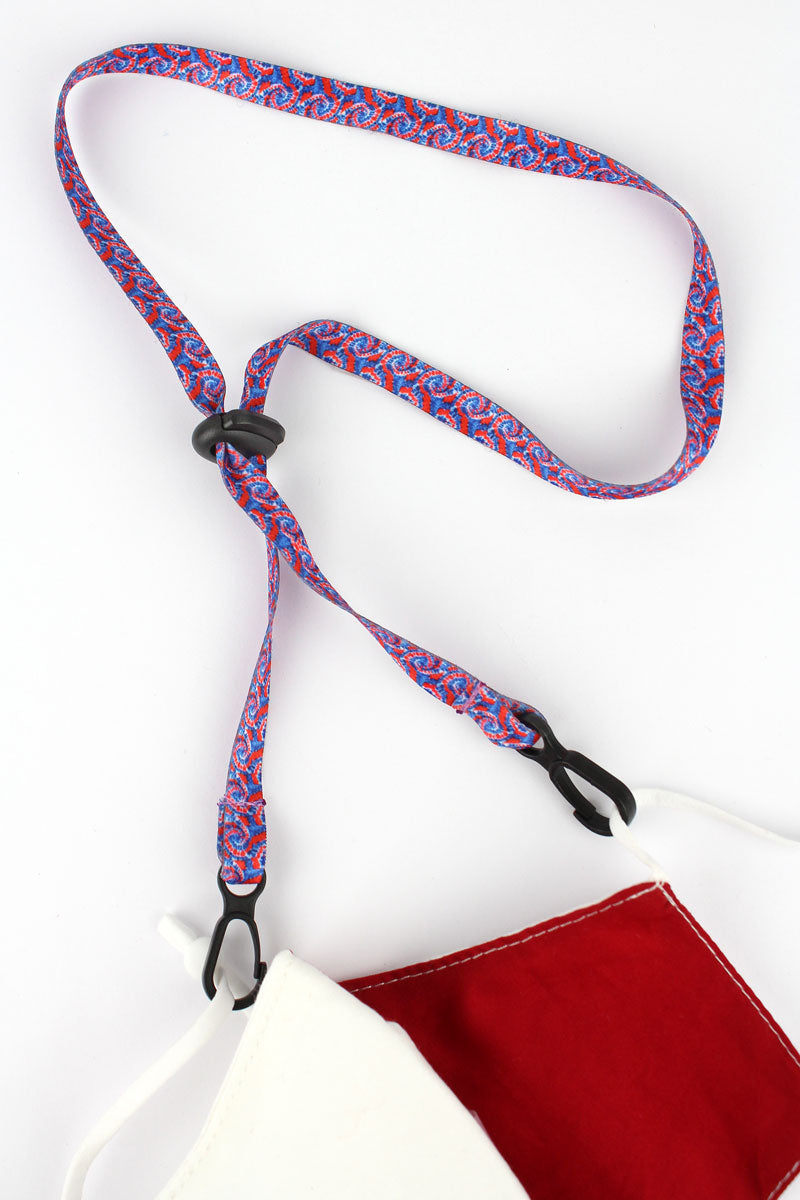 Red and Blue Tie-Dye Face Mask Lanyard