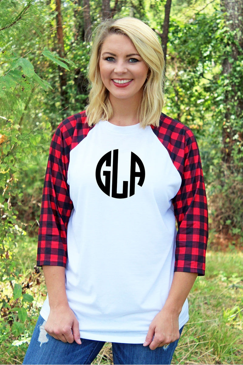 PRE-ORDER* Red and Black Buffalo Plaid 3/4 Sleeve Raglan Tee **EXPECTED SHIP DATE 10/25**