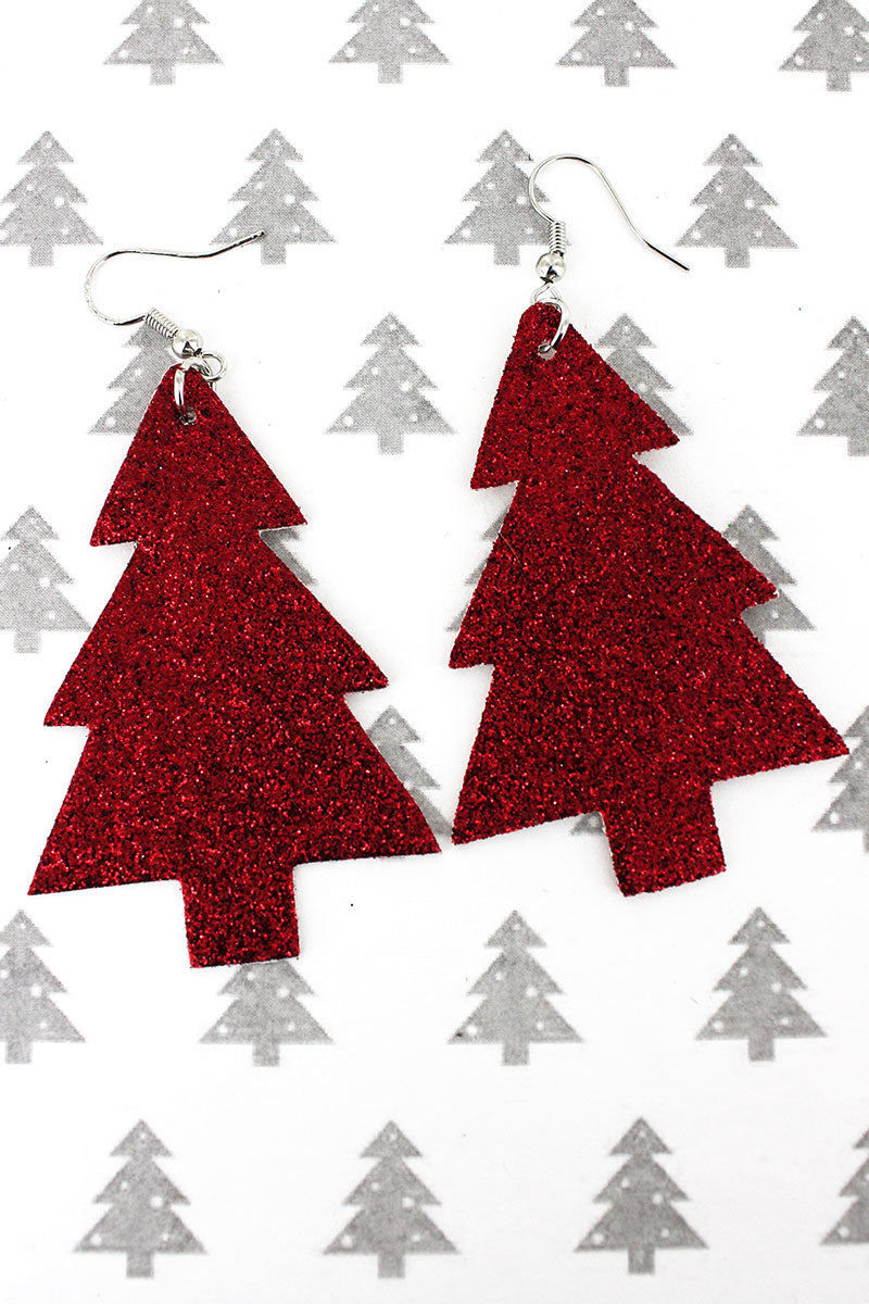 Red Holiday Glitz and Glam Tree Earrings