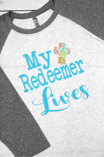 My Redeemer Lives Tri-Blend Unisex 3/4 Raglan (Wholesale Pricing N/A)