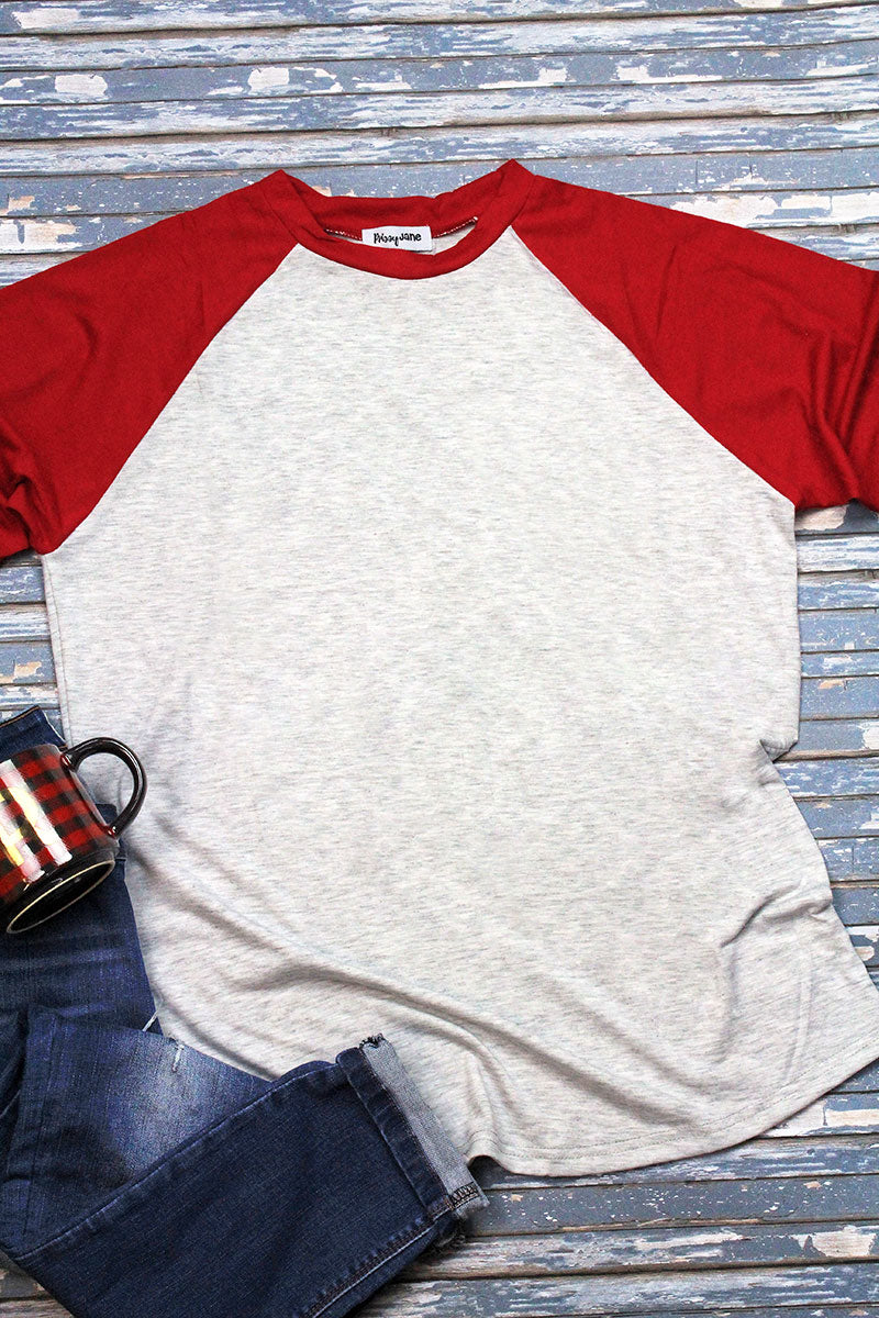 PRE-ORDER* Red and Heather Light Gray 3/4 Sleeve Raglan Tee **EXPECTED SHIP DATE 12/2**