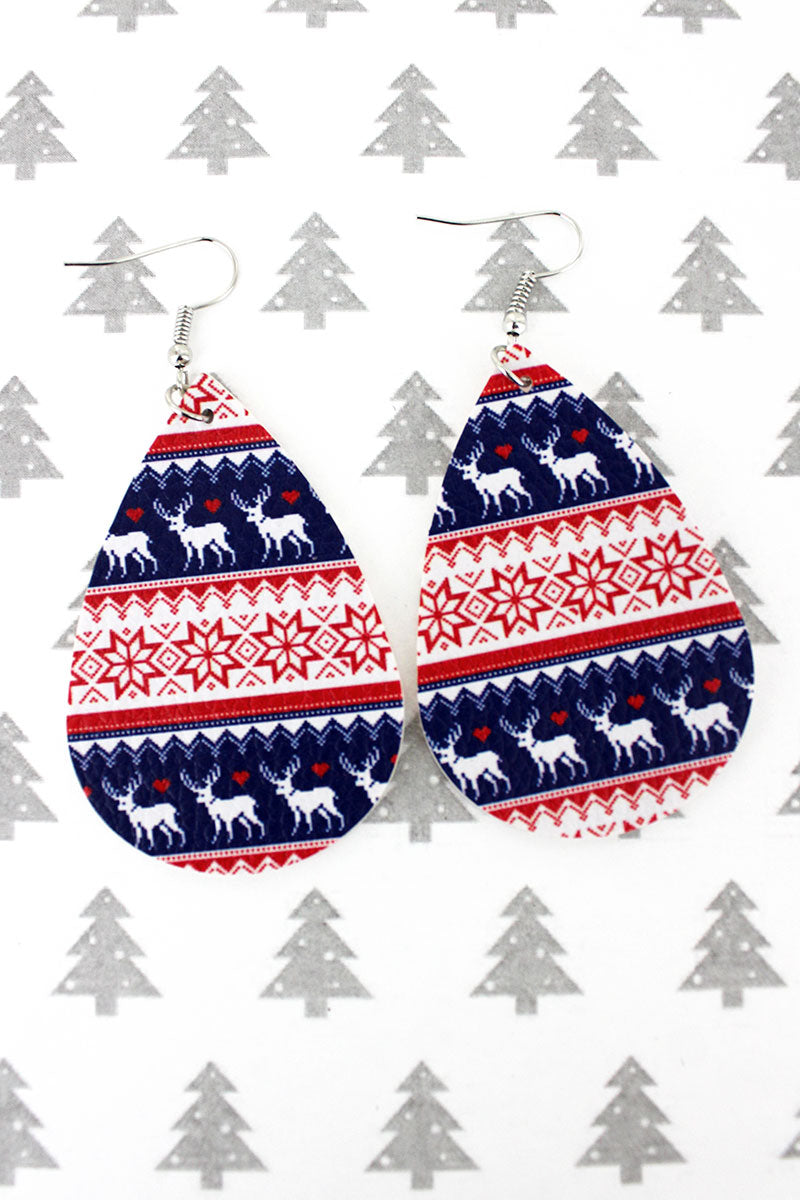 Reindeer Fair Isle Teardrop Earrings
