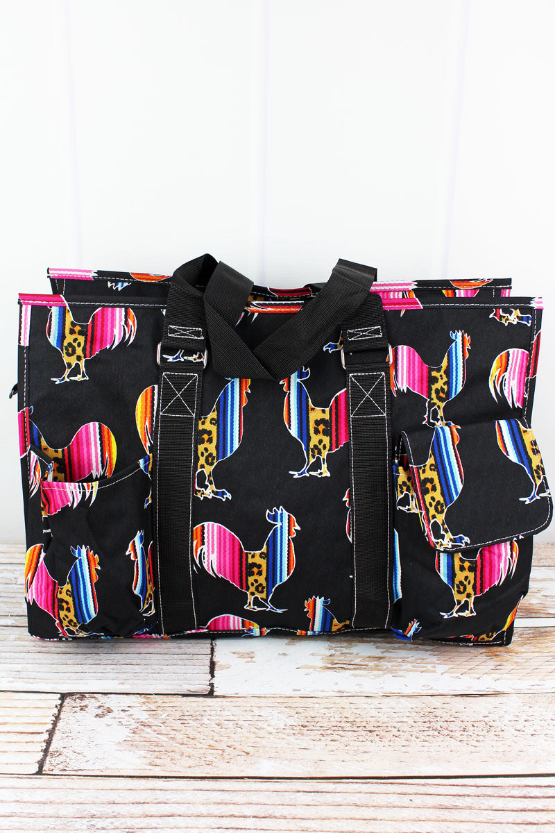 NGIL Wild Serape Roosters with Black Trim Large Organizer Tote