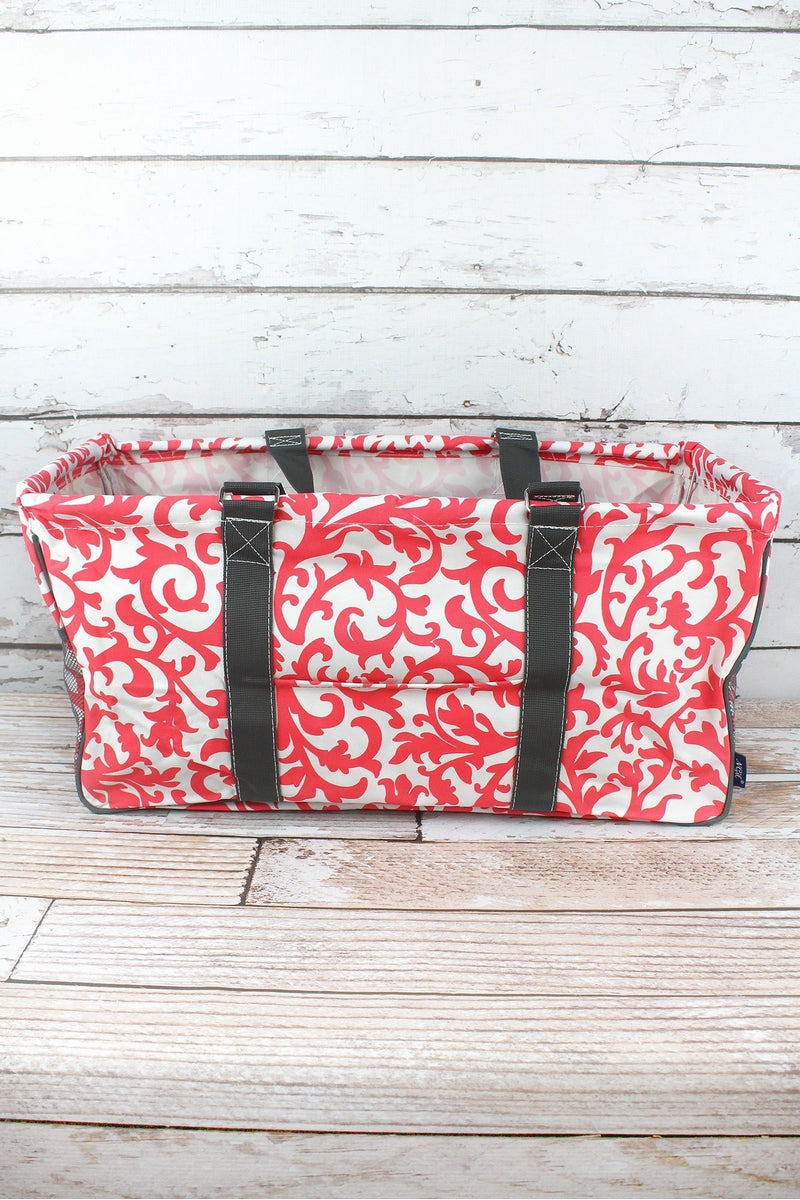NGIL Coral Ivy Damask Collapsible Haul-It-All Basket with Mesh Pockets