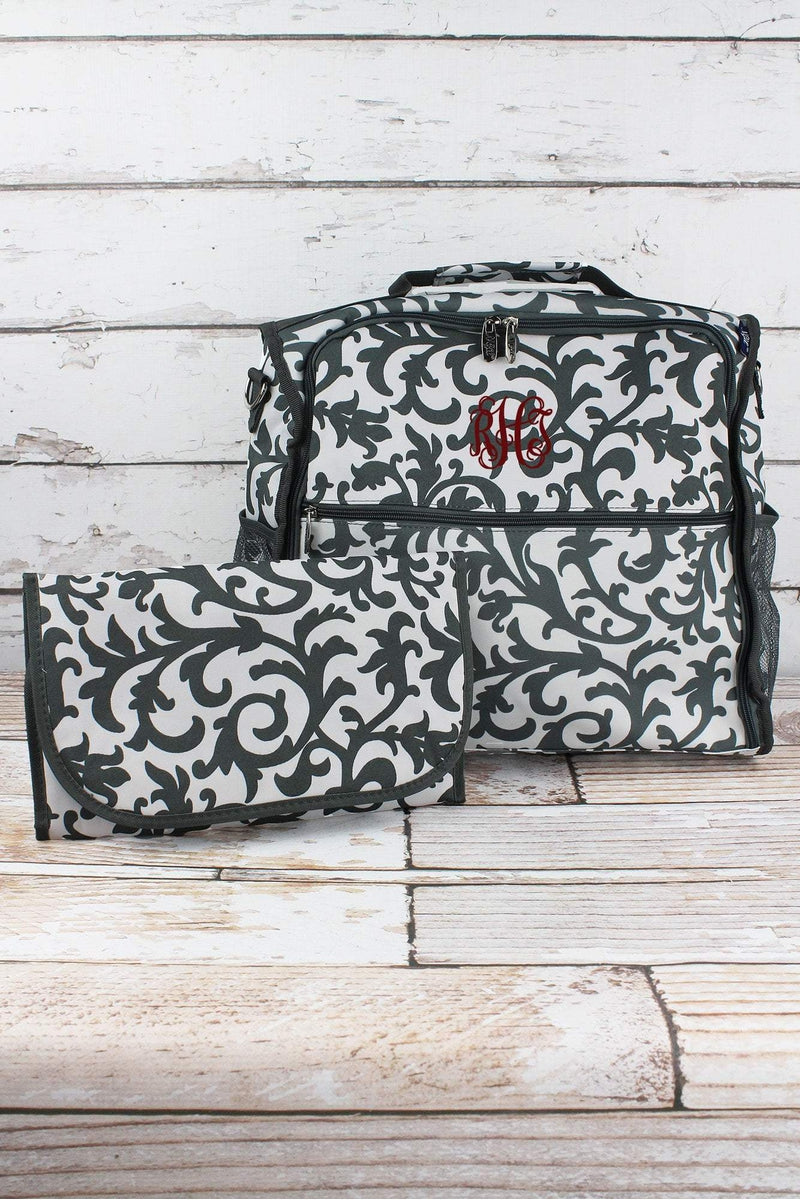 NGIL Gray Ivy Damask Diaper Backpack