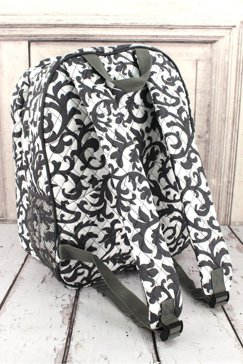 NGIL Gray Ivy Damask Quilted Oversized Backpack