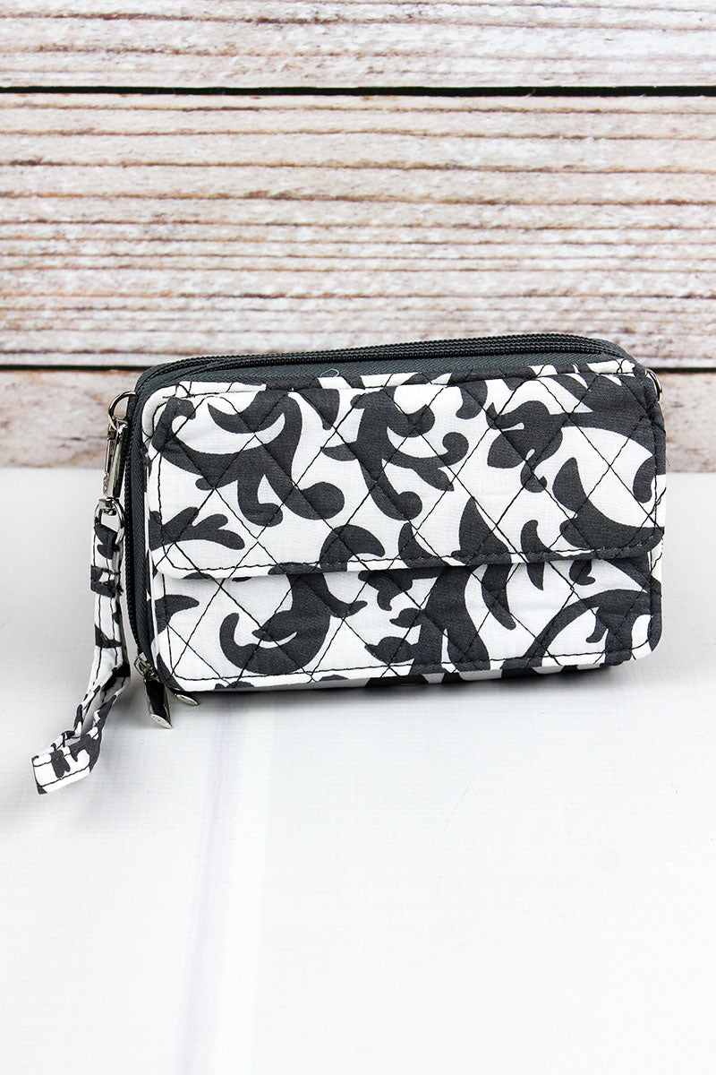 NGIL Gray Ivy Damask Quilted Crossbody Organizer Clutch