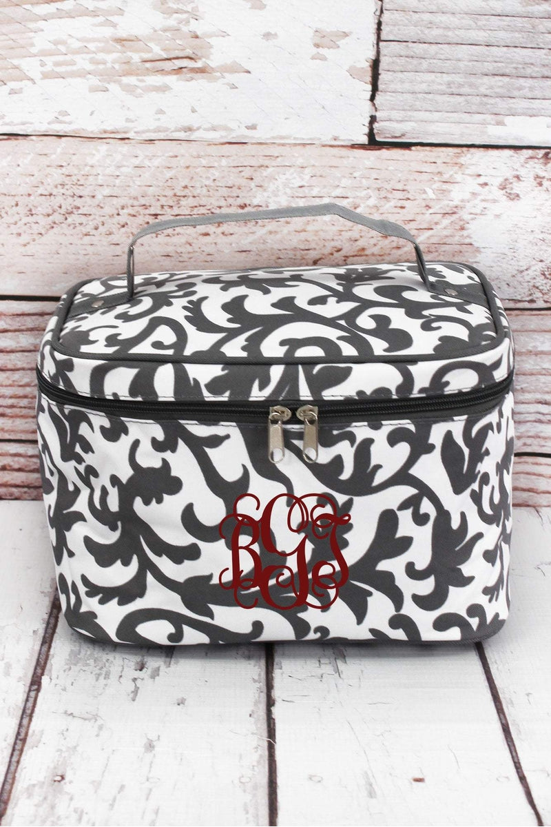 NGIL Gray Ivy Damask Train Case