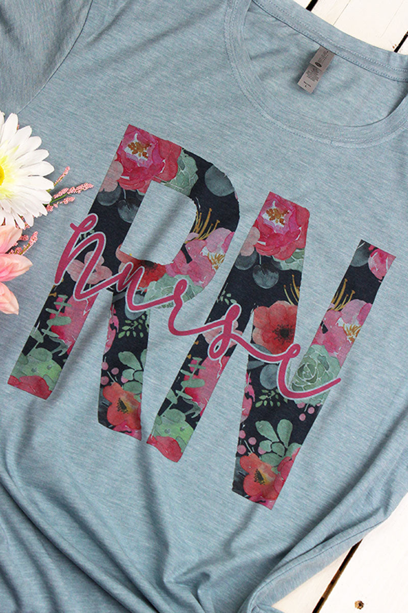 Floral Nurse Poly/Cotton Tee