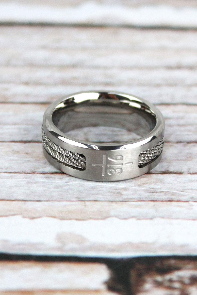 John 3:16 Cross Men's Stainless Steel Ring *Choose Your Size