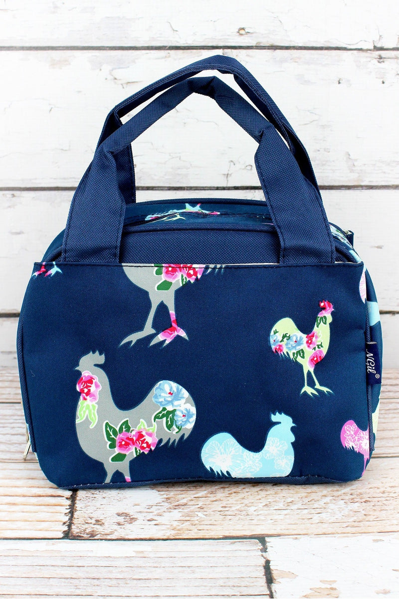 NGIL Rosy Roosters Insulated Bowler Style Lunch Bag