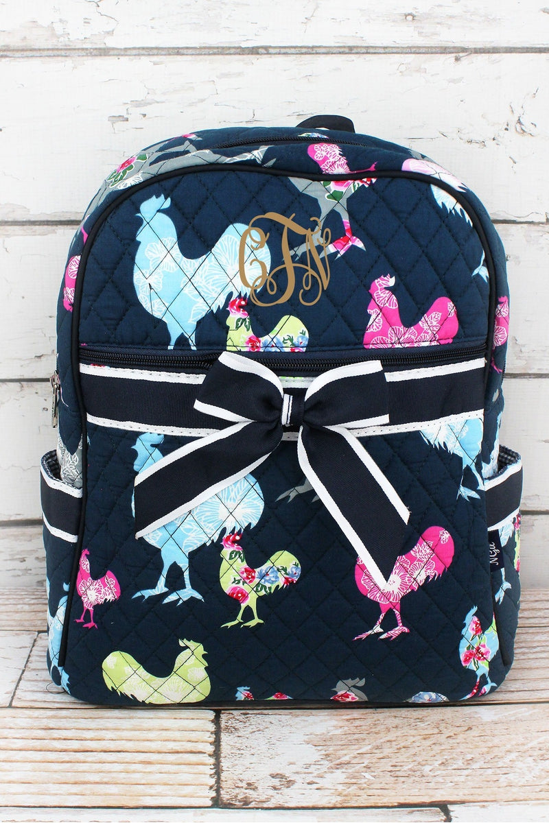NGIL Rosy Roosters Quilted Backpack with Navy Trim