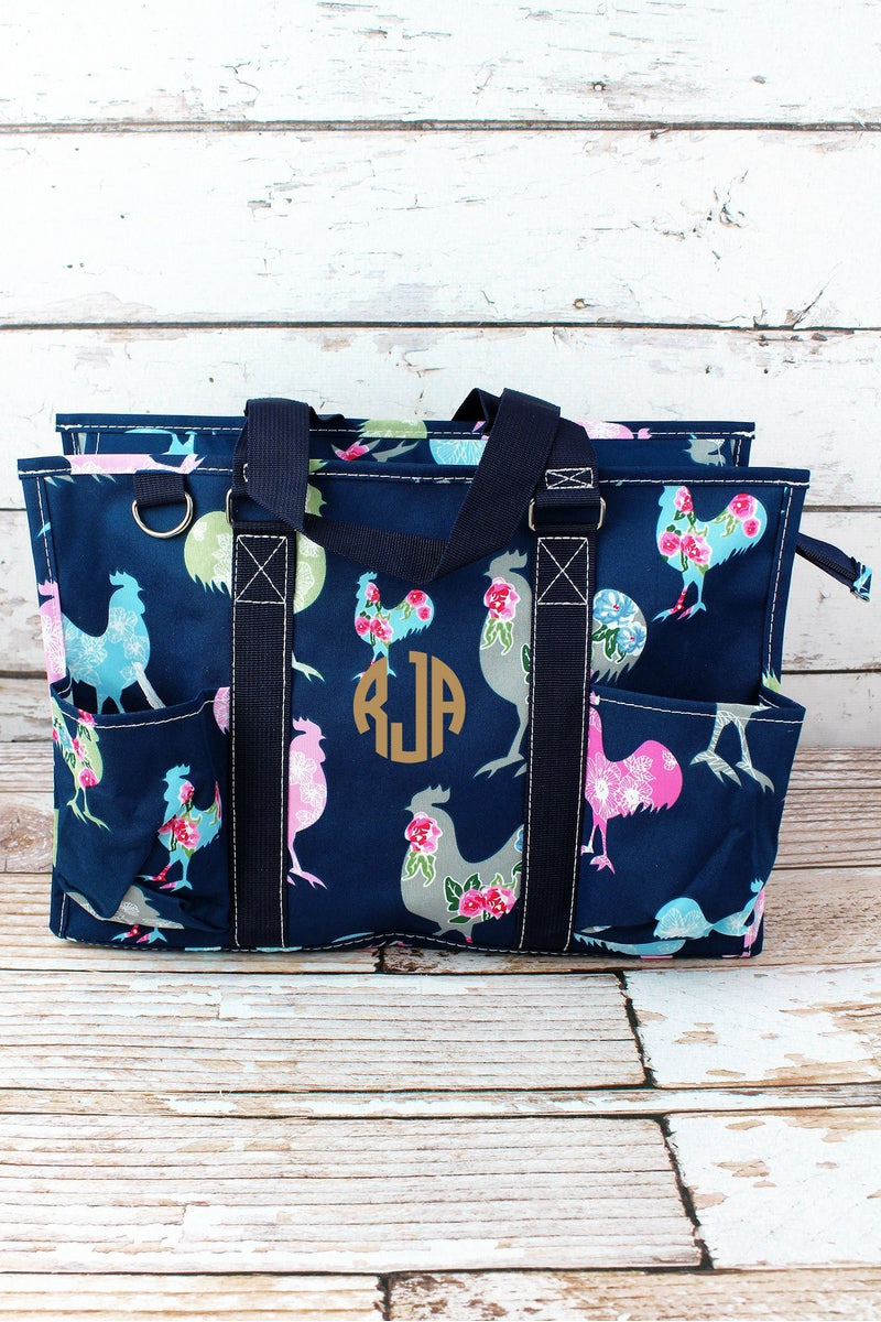 NGIL Rosy Roosters Utility Tote with Navy Trim