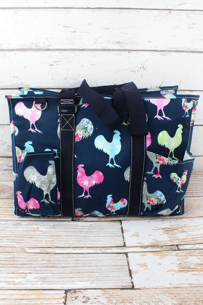 NGIL Rosy Roosters with Navy Trim Large Organizer Tote