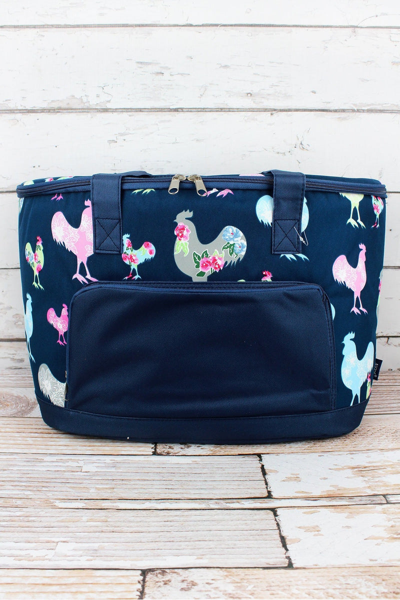 NGIL Rosy Roosters and Navy Cooler Tote with Lid