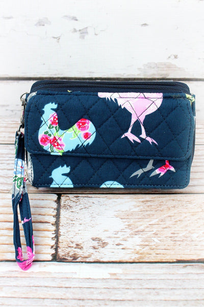 NGIL Rosy Roosters Quilted Crossbody Organizer Clutch
