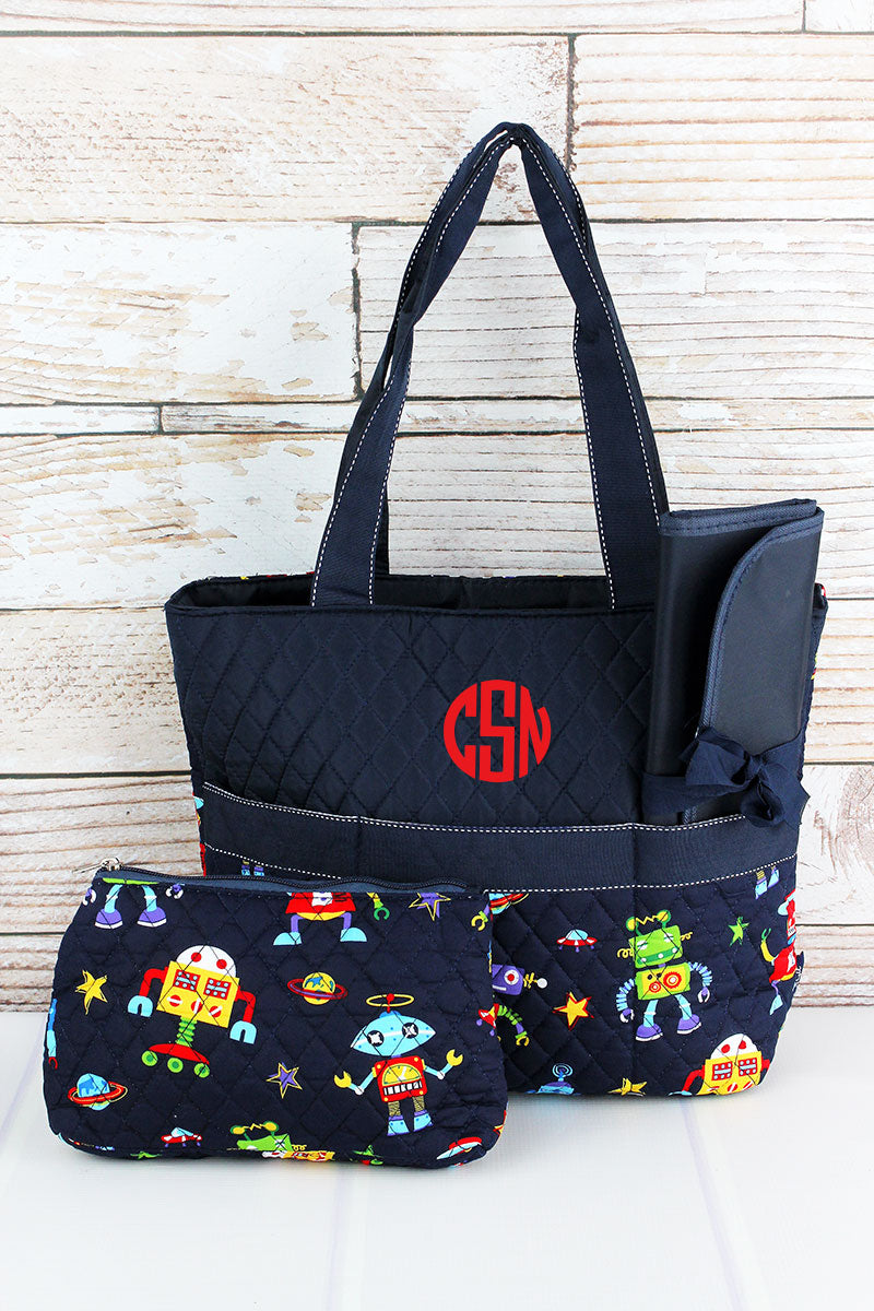 NGIL Robots In Space Quilted Diaper Bag with Navy Trim