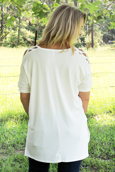 Ivory Criss-Cross Short Sleeve Top