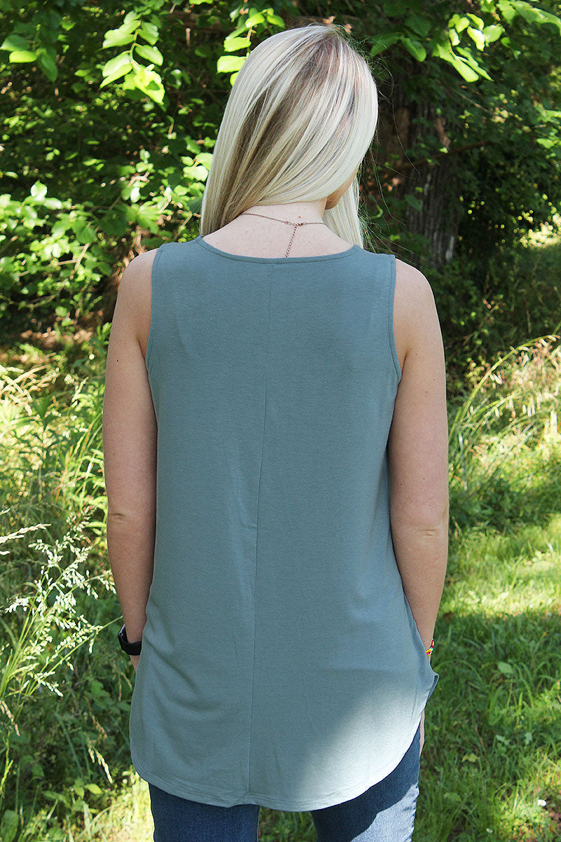 Blue Gray Tank Top