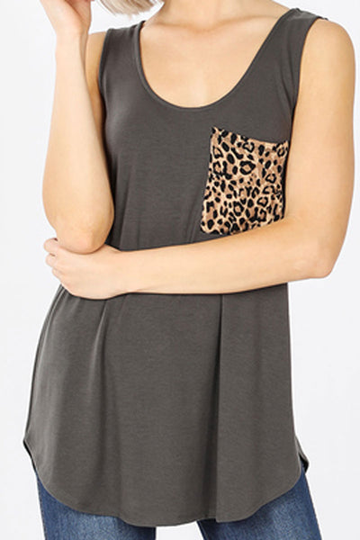 Ash Gray with Leopard Pocket Sleeveless Top