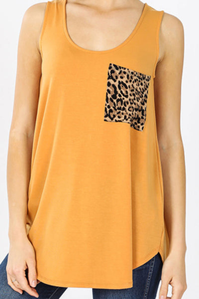 Ash Mustard with Leopard Pocket Sleeveless Top