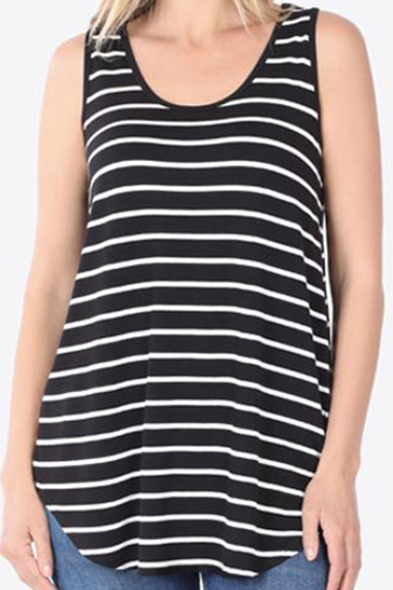 Black and Ivory Striped Sleeveless Top