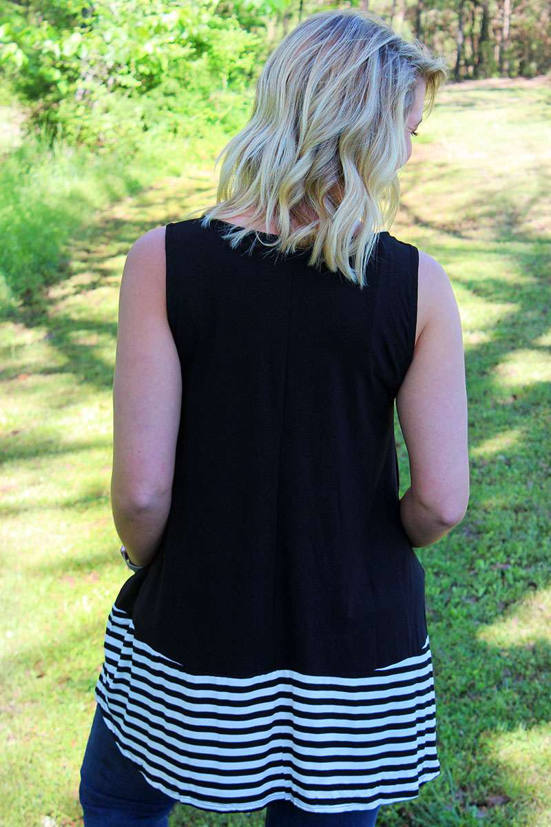 Black with Striped Bottom Sleeveless Top