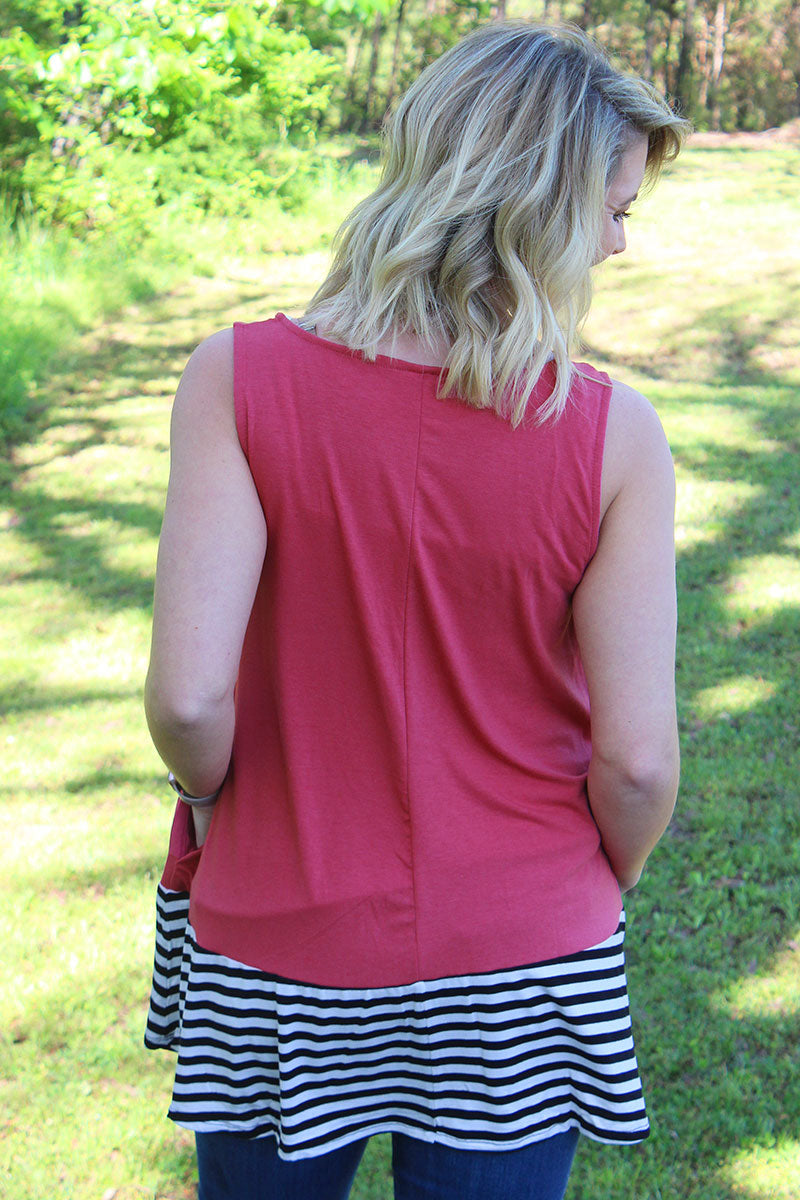 Rose with Striped Bottom Sleeveless Top