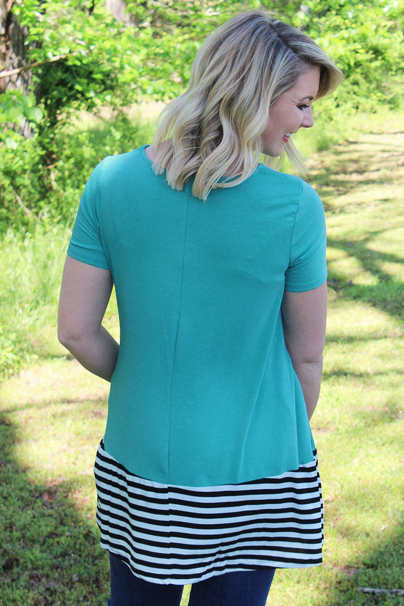 Plus Size Ash Mint with Striped Bottom Short Sleeve Top