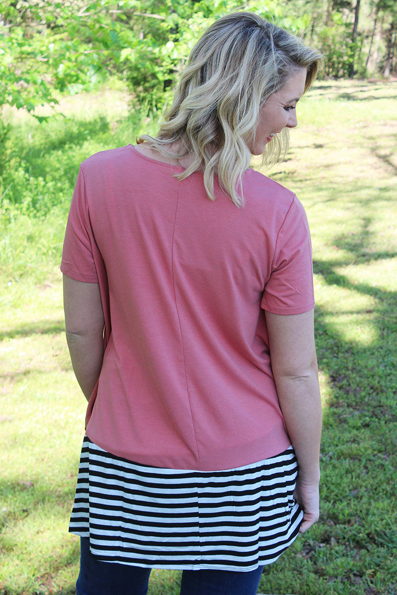Plus Size Ash Rose with Striped Bottom Short Sleeve Top
