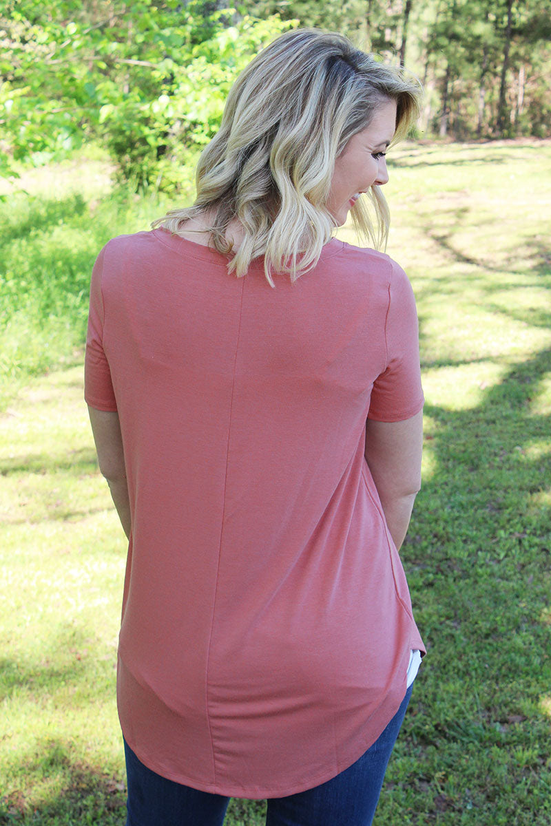 Ash Rose Relaxed Fit V-Neck Top