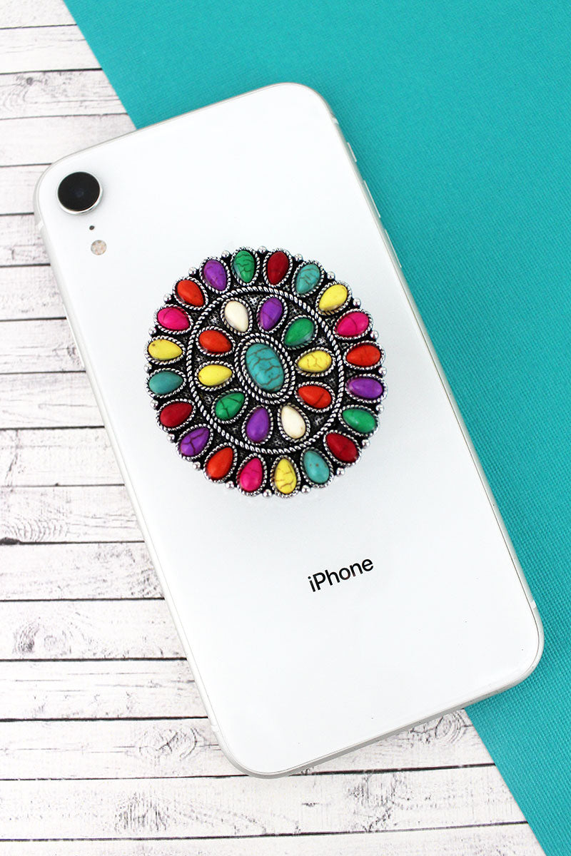 Multi-Color Stone Beaded Silvertone Oval Concho Cell Phone Grip Cover