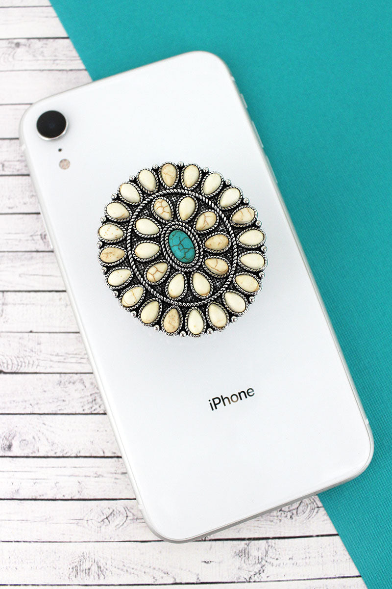 White and Turquoise Stone Beaded Silvertone Oval Concho Cell Phone Grip Cover