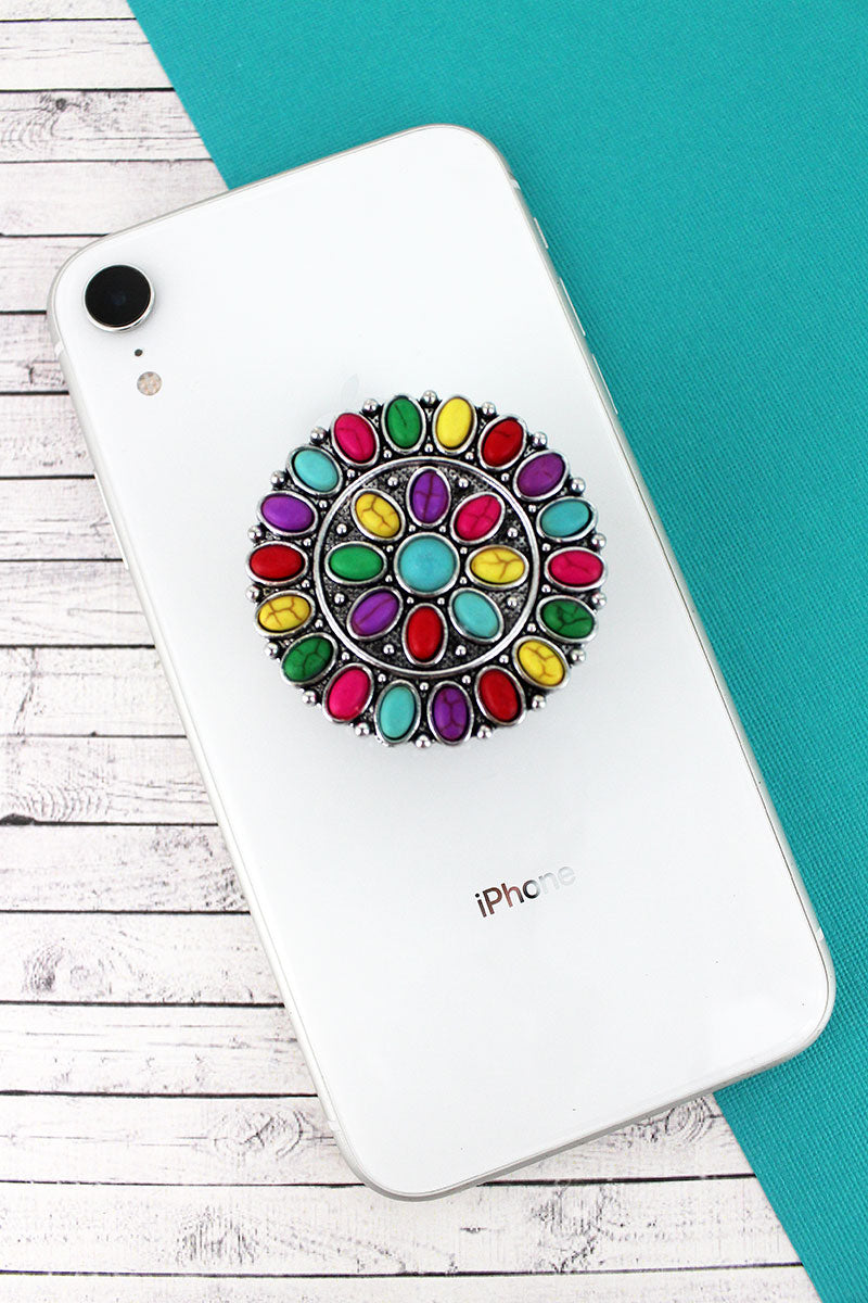Multi-Color Stone Beaded Silvertone Concho Cell Phone Grip Cover