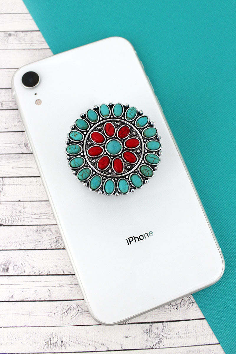 Turquoise and Coral Stone Beaded Silvertone Concho Cell Phone Grip Cover