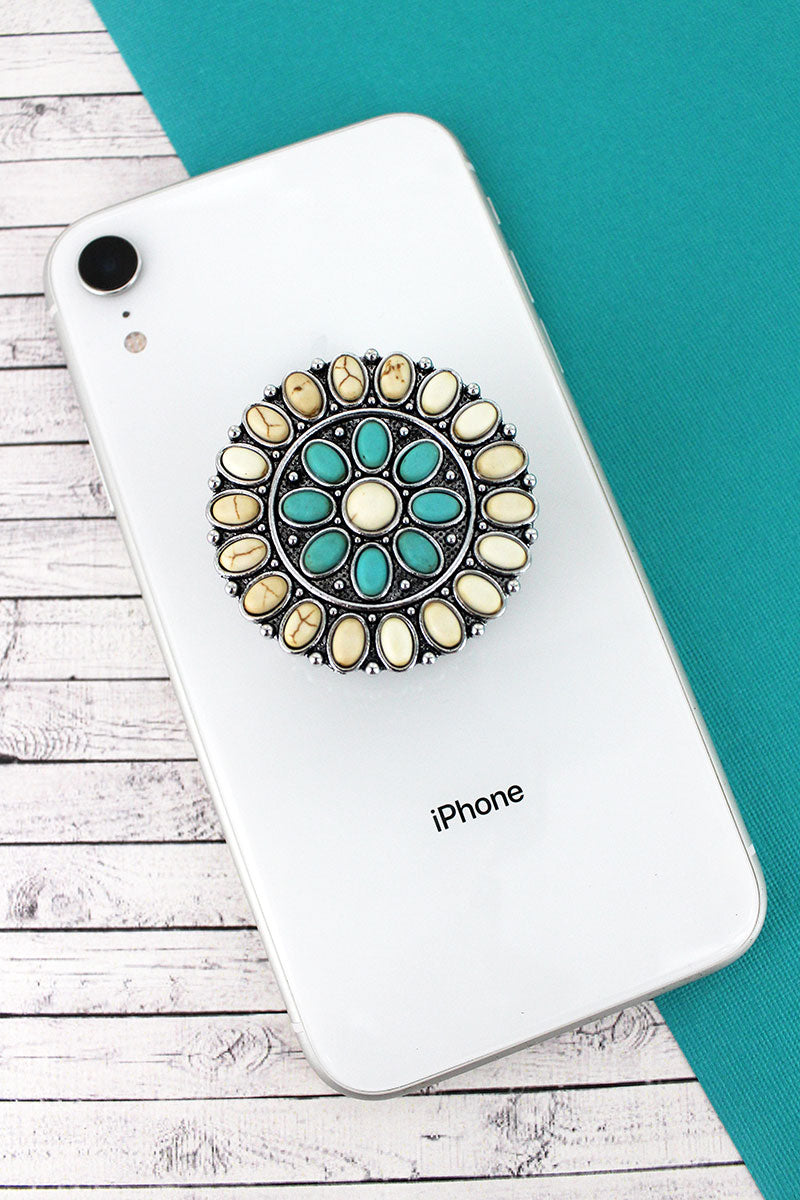 White and Turquoise Stone Beaded Silvertone Concho Cell Phone Grip Cover