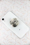 Burnished Silvertone Mama Bear Disk Cell Phone Grip Cover
