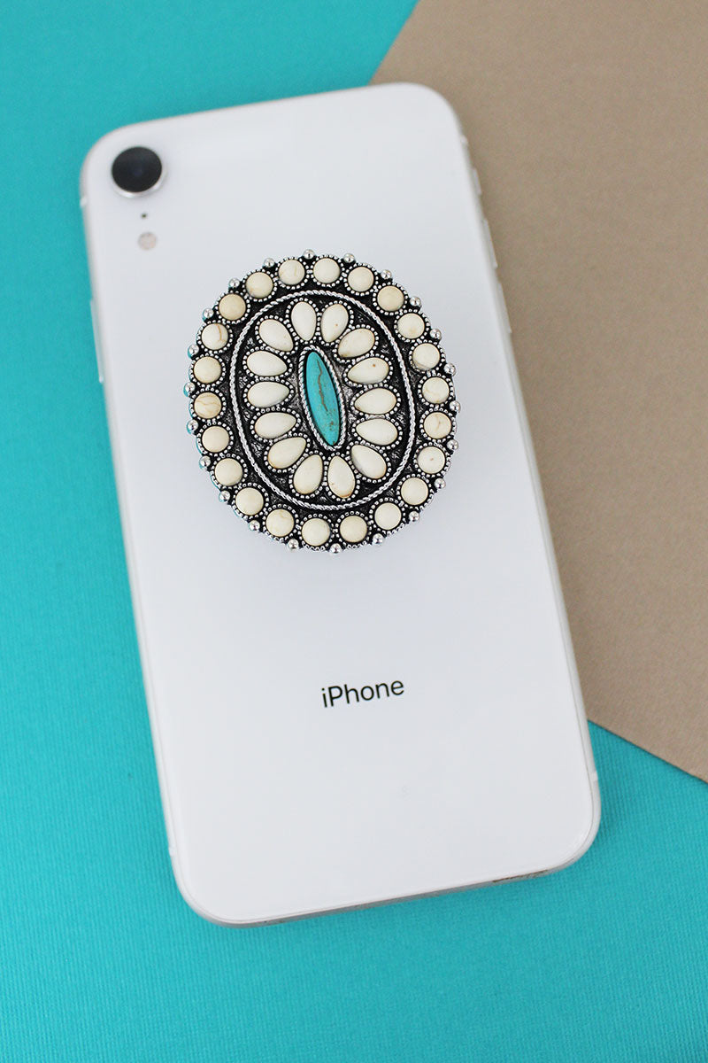 White and Turquoise Stone Beaded Oval Cell Phone Grip Cover