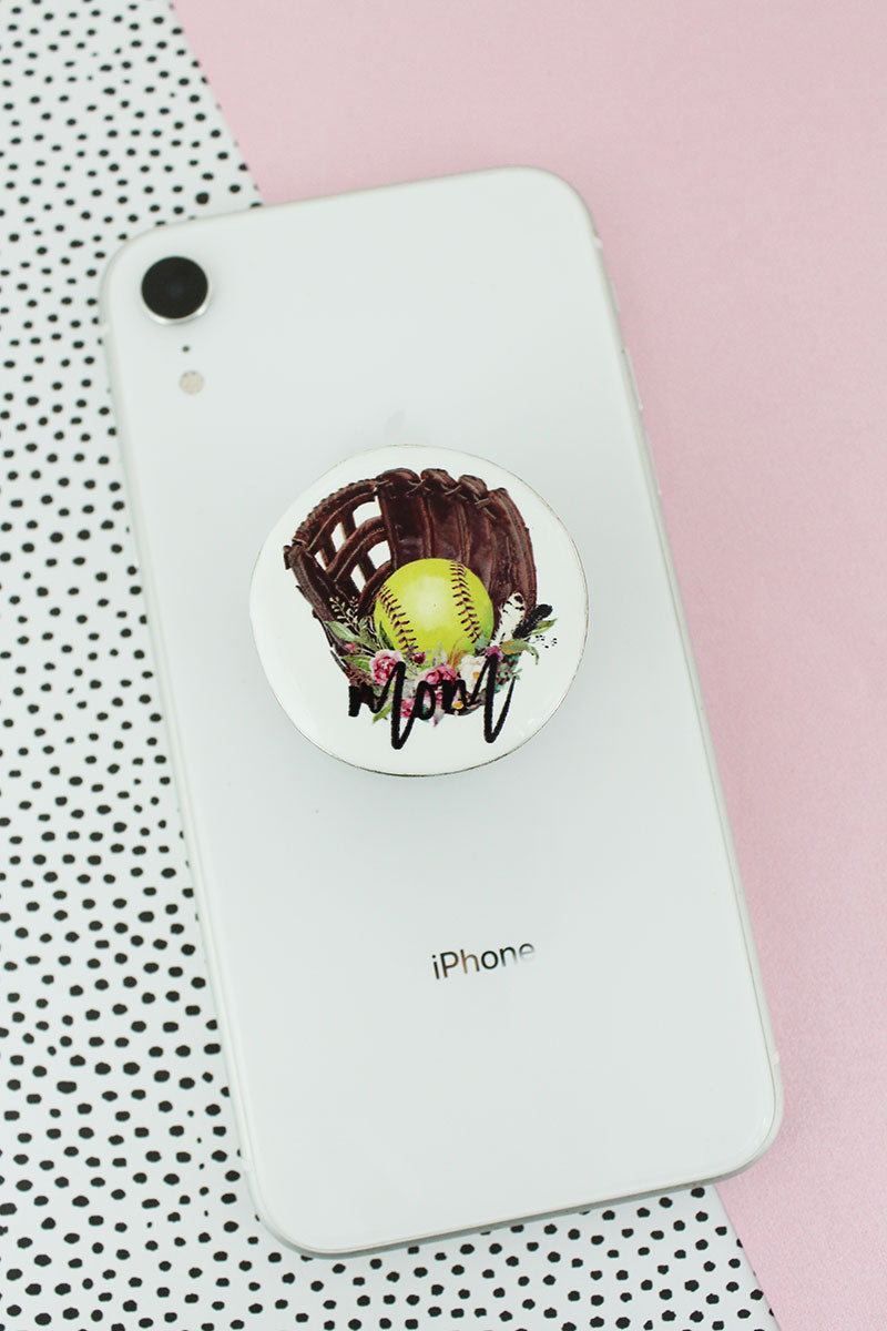 Softball Mom Disk Cell Phone Grip Cover